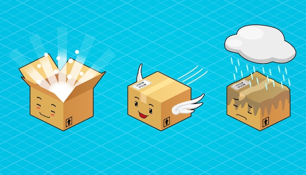 Isometrischer illustrationscharakter, niedliche lieferbox, fliegend, glücklich geöffnet und traurig