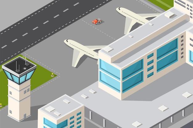 Isometrischer illustrationsstadtflughafen mit flugzeugkontrollturm, terminalgebäude und start- und landebahn.