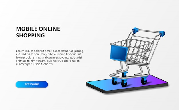 Isometrischer illustrationswagen 3d mit smartphone. online-shop-shopping und e-commerce-konzept.