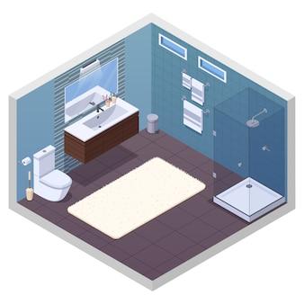 Isometrischer innenraum des badezimmers mit glattem duscheinheitentoilettenschüssel-eitelkeitsbassenspiegel und weicher badmattenvektorillustration