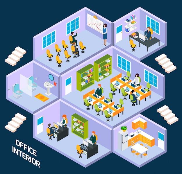 Isometrischer innenraum des büros