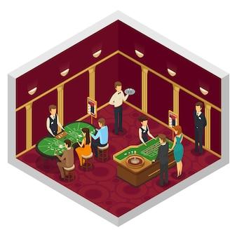 Isometrischer innenraum des farbigen kasinos mit spiel der grünen tabellen von würfelkasinoangestellten