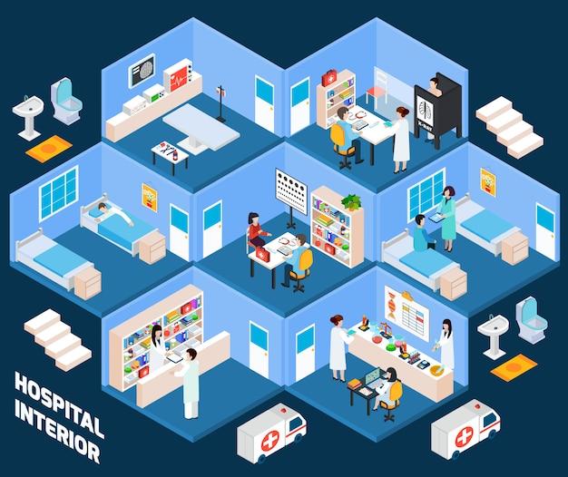 Isometrischer innenraum des krankenhauses