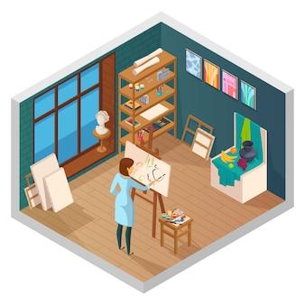 Isometrischer innenraum des kunststudios des klassenzimmers mit fenster legt malereien und weiblichen malercharakter an der arbeitsvektorillustration ab