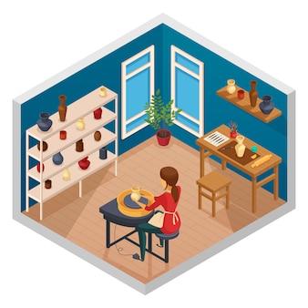 Isometrischer innenraum des kunststudios mit arbeitsplatz des weiblichen topfmachers mit fertigen handgemachten produkten auf regalen vector illustration