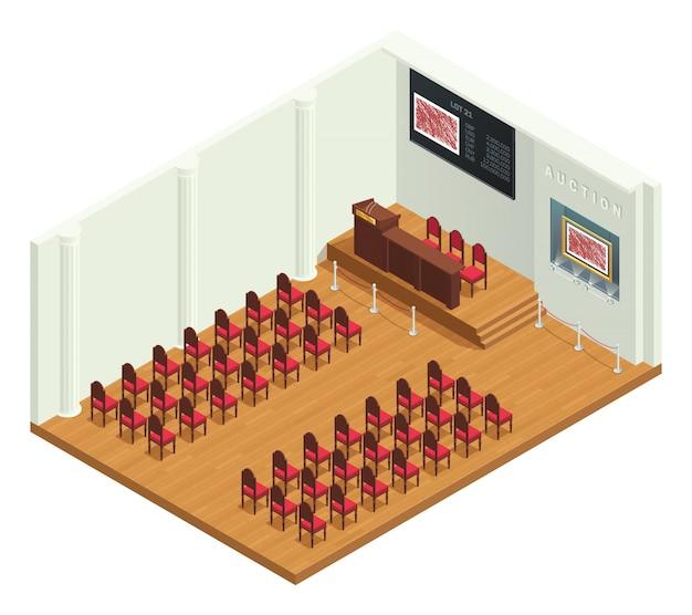 Isometrischer innenraum des retrostil-auktionsraums