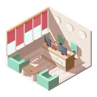 Isometrischer innenvektor der hotelaufnahmehalle