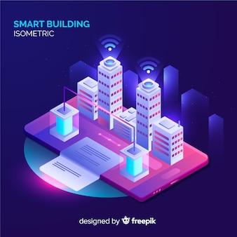 Isometrischer intelligenter Gebäudehintergrund