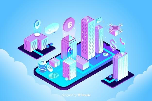 Isometrischer intelligenter stadthintergrund