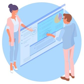 Isometrischer junger mann und frau mit flachem design kommunizieren über das webinterface. entwickler erstellen und testen mobile apps