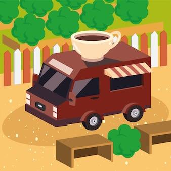Isometrischer kaffee-imbisswagen am park