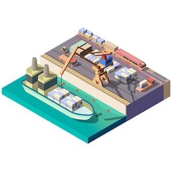 Isometrischer kartenausschnitt des stadtfrachthafens