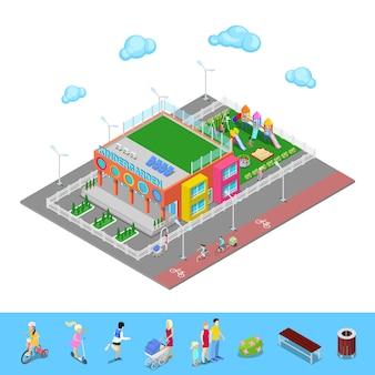 Isometrischer kindergarten mit spielplatz und kindern.