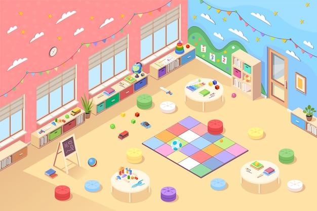 Isometrischer kindergartenraum oder spielzimmer für kinder im vorschulalter. kindererziehung oder lernraum mit spielzeug, büchern, nummer, teppich, würfeln, tisch, fahnen. innenraum der zeichentrickklasse für vorschulkinder