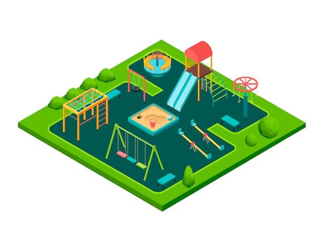 Isometrischer kindersommerspielplatz mit dem schwingen und sandkasten der kinder lokalisierte karikaturvektorillustration