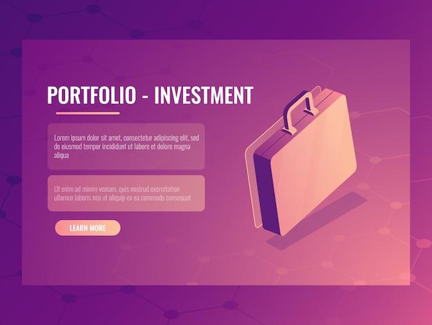 Isometrischer koffer, portfolioinvestition und finanzierung, abstrakter hintergrund