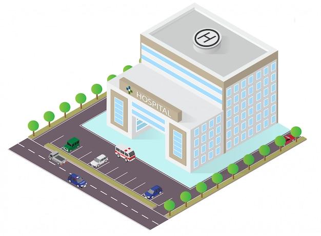 Isometrischer krankenhausgebäude-vektor