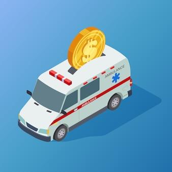 Isometrischer krankenwagen und münze des handelsmedizinvektors
