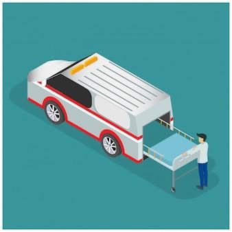 Isometrischer krankenwagen