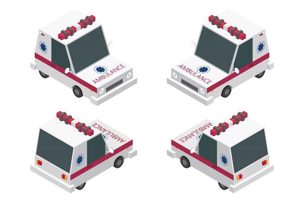 Isometrischer krankenwagensatz lokalisiert auf weißem hintergrund
