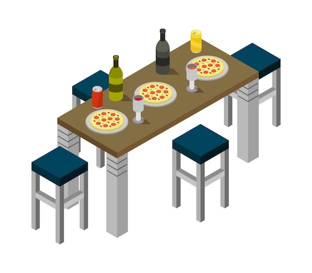Isometrischer küchentisch