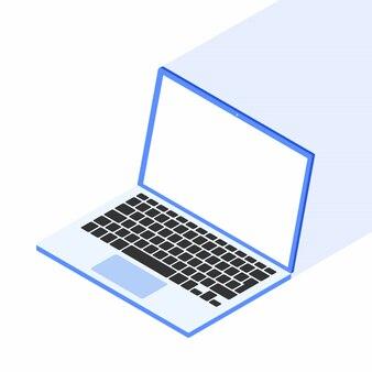 Isometrischer laptop getrennt auf einem weiß