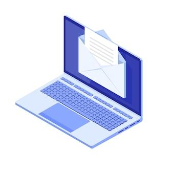 Isometrischer laptop mit e-mail-benachrichtigung