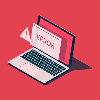 Isometrischer laptop mit fehlermeldung.