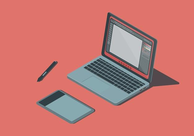 Isometrischer laptop mit grafiktablett.