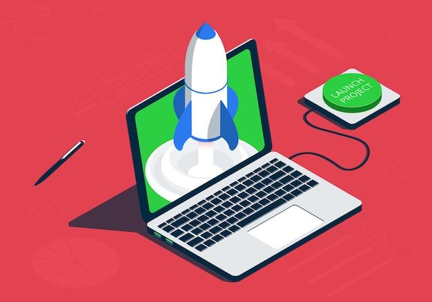 Isometrischer laptop mit rakete. projektkonzept starten.