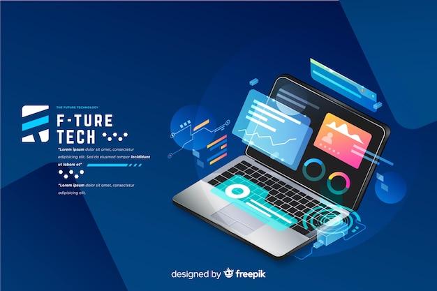 Isometrischer laptop-technologiehintergrund der steigung