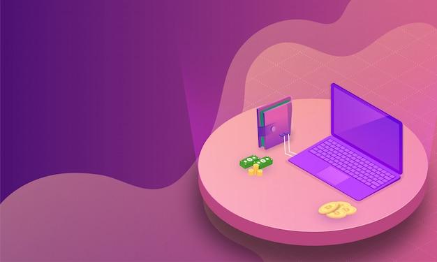 Isometrischer laptop verbunden mit geldbörse.