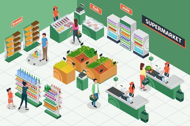 Isometrischer lebensmittelladen supermarkt interieur mit möbelkunden kassierer 3d-vektor-layout