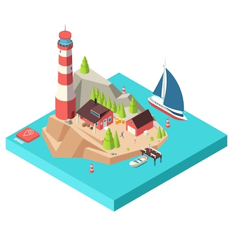 Isometrischer leuchtturm. insel mit turm und haus, bäumen und boot auf see und männer isometrische illustration