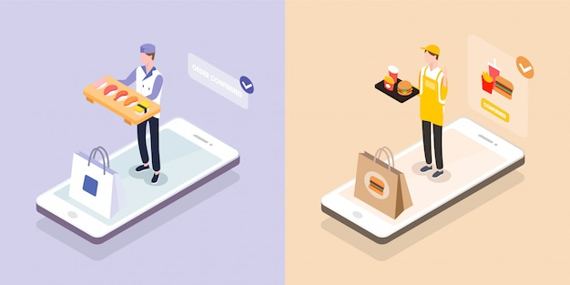 Isometrischer lieferjunge mit essenstablett auf smartphone