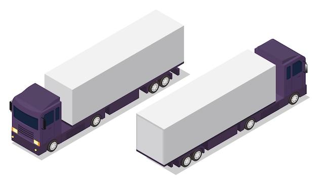 Isometrischer lkw-anhänger mit container. frachtlieferfahrzeugschablone lokalisiert auf weiß