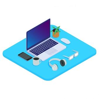 Isometrischer lokalisierter laptop 3d bereit zu arbeiten