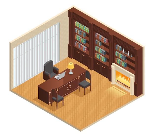 Isometrischer luxusinnenraum für studie mit möbellaptop