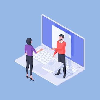 Isometrischer männlicher experte mit einem stapel von dokumenten, der weiblichen angestellten unter verwendung des laptops berät und projekt entfernt entfernt auf blauem hintergrund tut