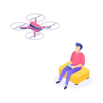 Isometrischer mann mit drohne. junge männer charaktere mit entferntem luftquadcopter. vektor isometrische darstellung