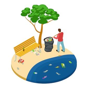 Isometrischer mann nimmt müll auf dem strand-, wasser-, ozean- und naturverschmutzungskonzept auf