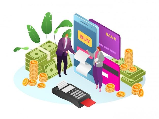 Isometrischer markt mit online-mobile-payment-illustration. menschen nutzen smartphone-marketing, kaufen im laden app-technologie. verkaufshintergrund mit geschäftskunden.