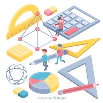 Isometrischer mathe-materialhintergrund