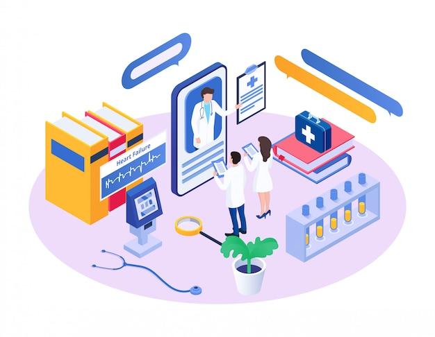 Isometrischer medizinischer berater, zeichentrickfilm-charakter, der winzige kollegen mit app-smartphone berät