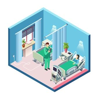 Isometrischer moderner krankenhausraum, bezirksabschnitt mit weiblichem patienten im bett