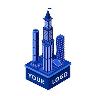 Isometrischer moderner wolkenkratzer mit ihrem logoraum. städtischer architekturbau