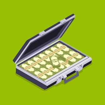 Isometrischer offener aktenkoffer mit dem geld