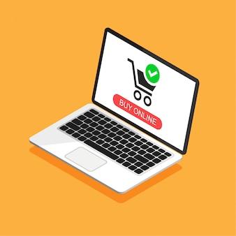 Isometrischer offener laptop mit einkaufswagen auf einem bildschirm. online einkaufen. vektorillustration in einem 3d stil.