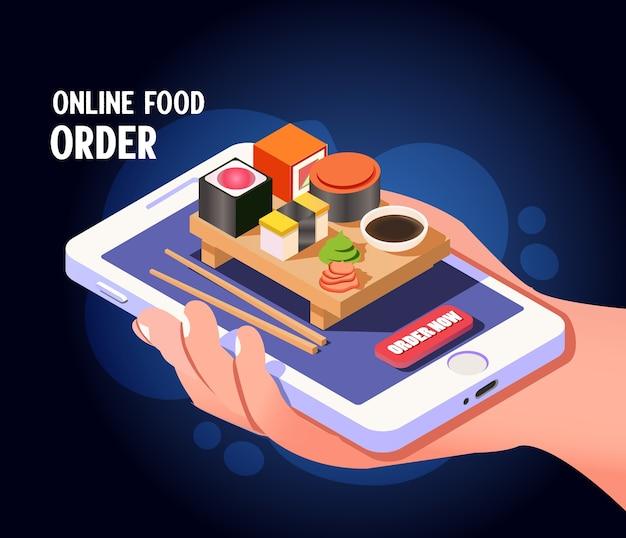 Isometrischer online-bestellservice für lebensmittel