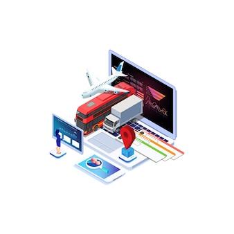 Isometrischer online-kauf oder buchung von tickets für ein flugzeug, einen bus oder einen zug
